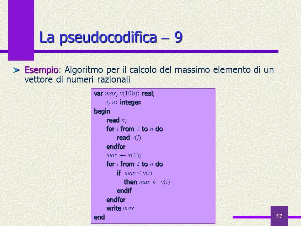 La pseudocodifica  9Esempio: Algoritmo per il calcolo del massimo elemento di un vettore di numeri razionali.