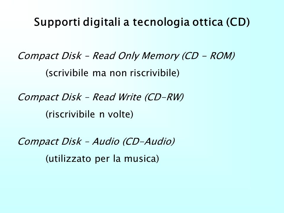 Supporti digitali a tecnologia ottica (CD)