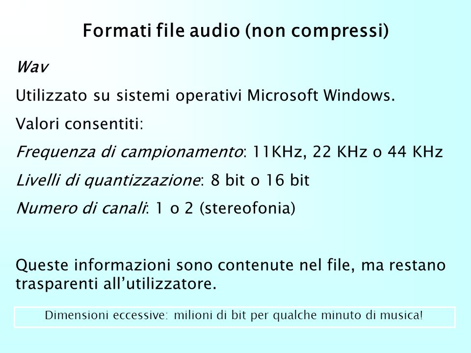 Formati file audio (non compressi)