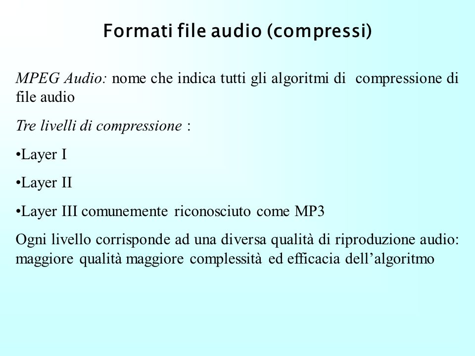 Formati file audio (compressi)