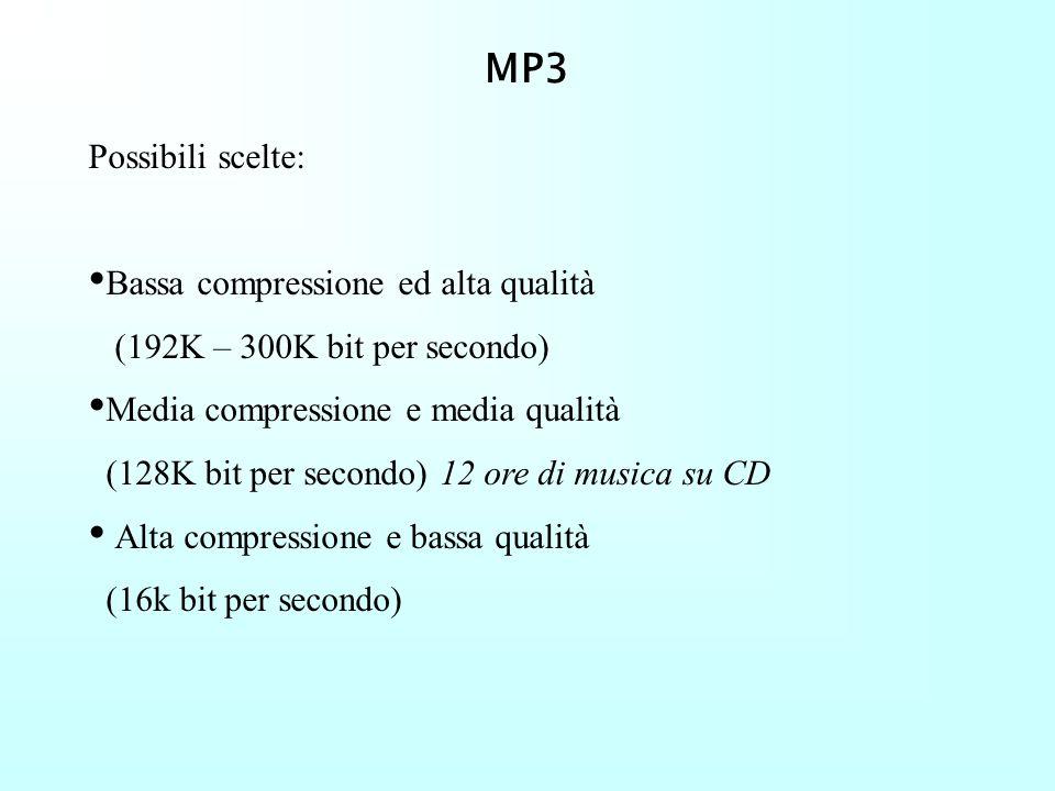 MP3 Possibili scelte: Bassa compressione ed alta qualità