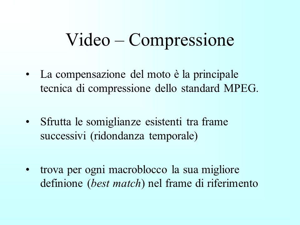 Video – Compressione La compensazione del moto è la principale tecnica di compressione dello standard MPEG.