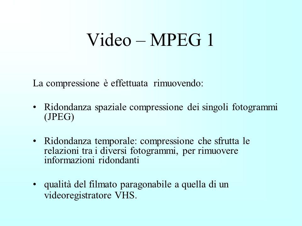 Video – MPEG 1 La compressione è effettuata rimuovendo: