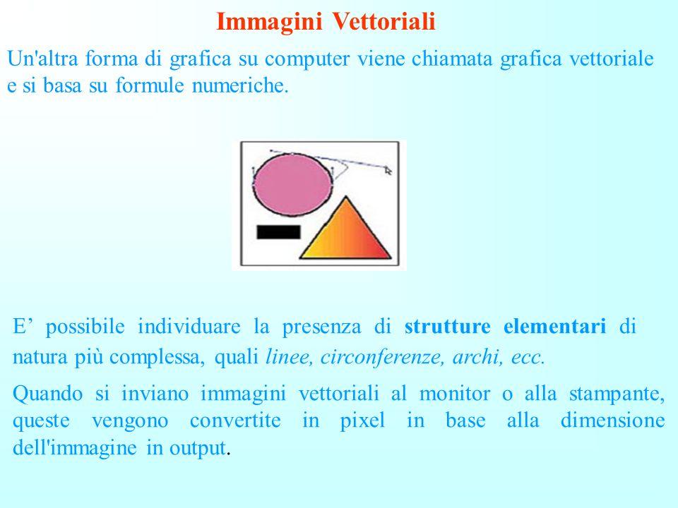 Immagini Vettoriali Un altra forma di grafica su computer viene chiamata grafica vettoriale e si basa su formule numeriche.