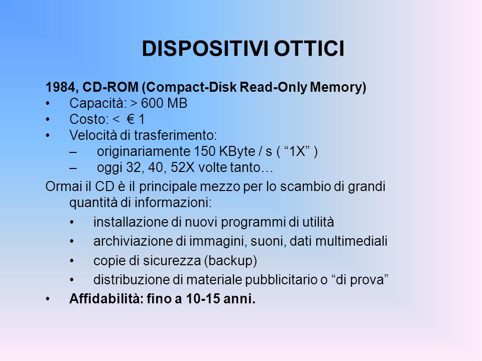 DISPOSITIVI OTTICI 1984, CD-ROM (Compact-Disk Read-Only Memory)