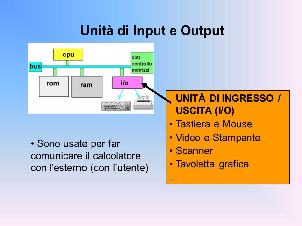 Unità di Input e Output UNITÀ DI INGRESSO / USCITA (I/O)