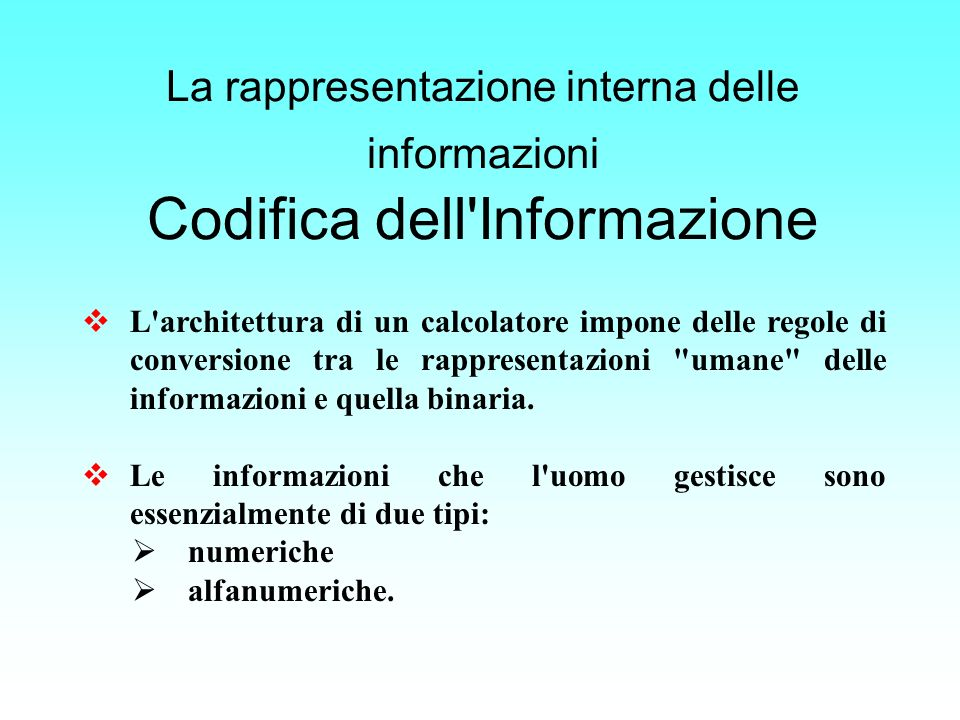 La rappresentazione interna delle informazioni Codifica dell Informazione