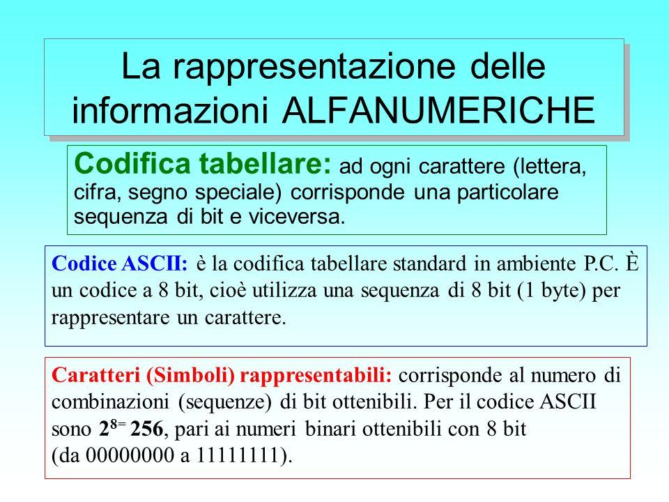 La rappresentazione delle informazioni ALFANUMERICHE
