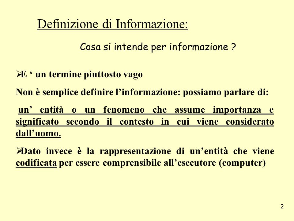 Definizione di Informazione: