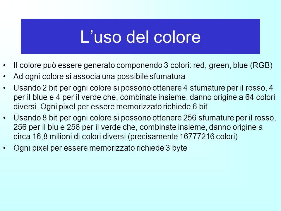L'uso del colore Il colore può essere generato componendo 3 colori: red, green, blue (RGB) Ad ogni colore si associa una possibile sfumatura.