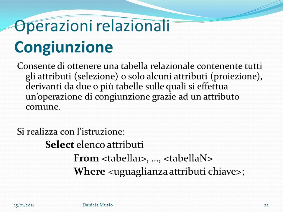 Operazioni relazionali Congiunzione