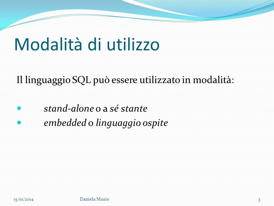 Modalità di utilizzo Il linguaggio SQL può essere utilizzato in modalità: stand-alone o a sé stante.