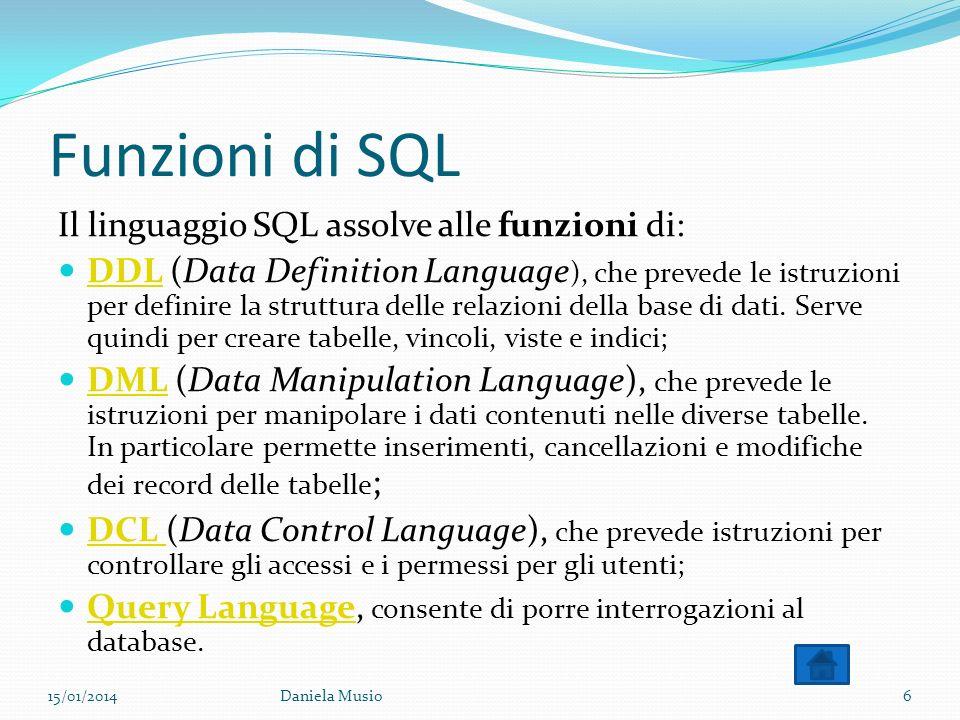 Funzioni di SQL Il linguaggio SQL assolve alle funzioni di: