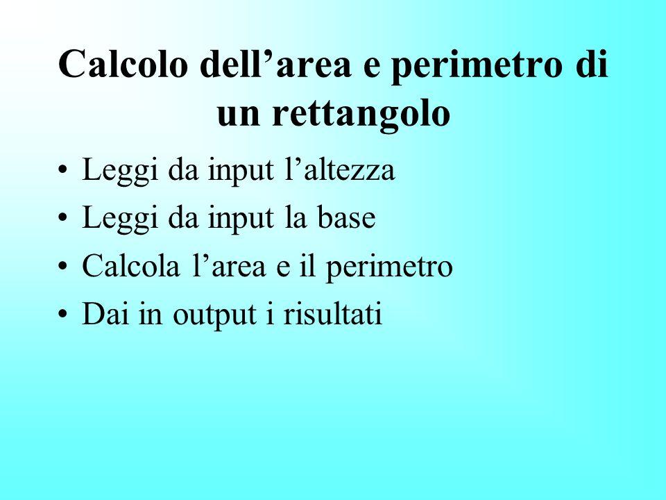Calcolo dell'area e perimetro di un rettangolo