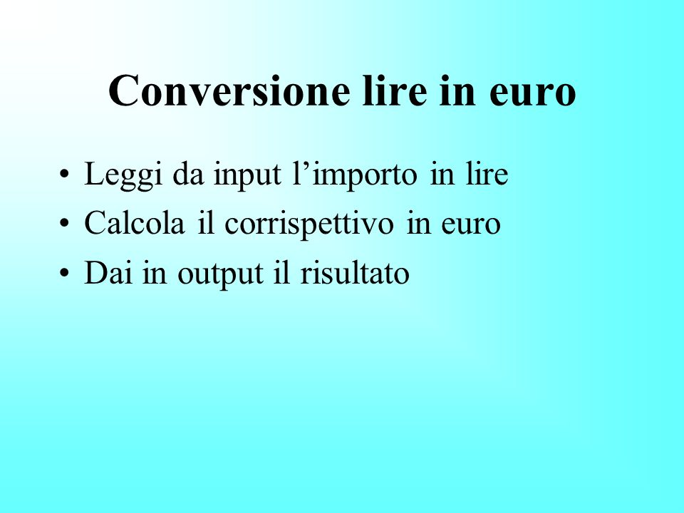 Conversione lire in euro