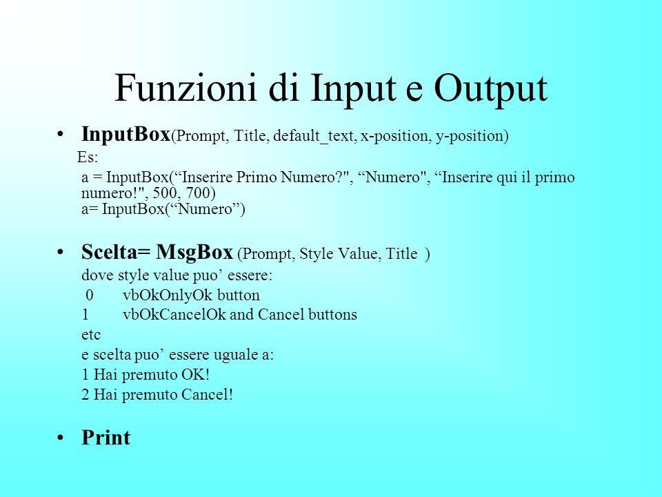 Funzioni di Input e Output