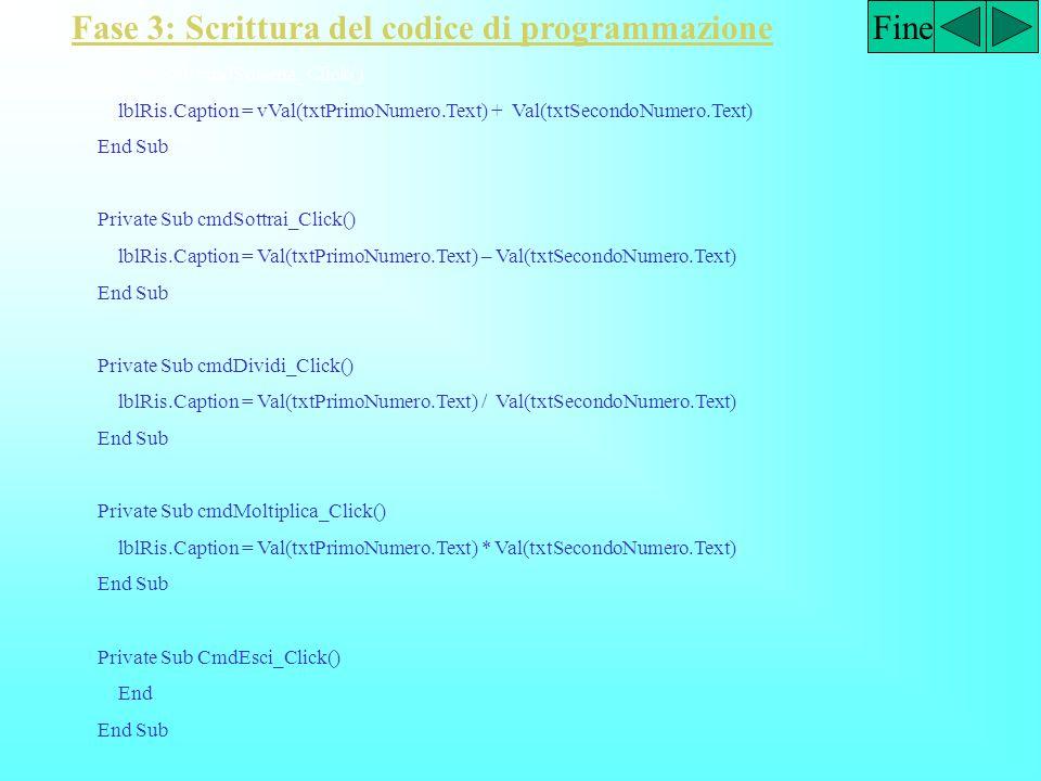 Fase 3: Scrittura del codice di programmazione Fine