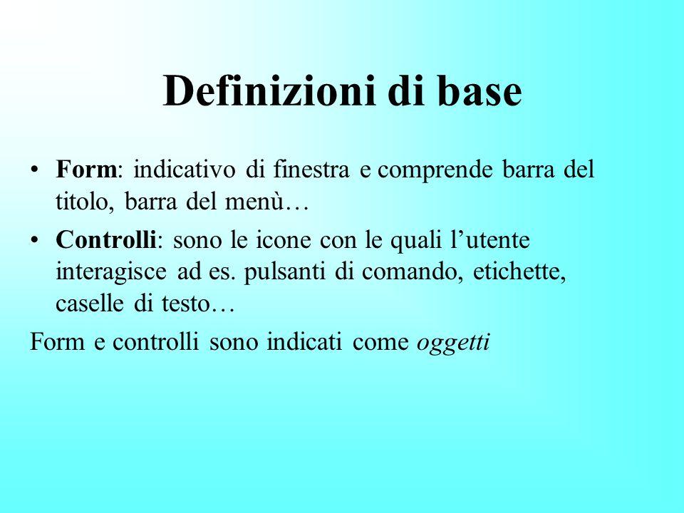 Definizioni di base Form: indicativo di finestra e comprende barra del titolo, barra del menù…