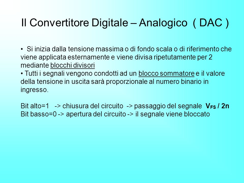 Il Convertitore Digitale – Analogico ( DAC )