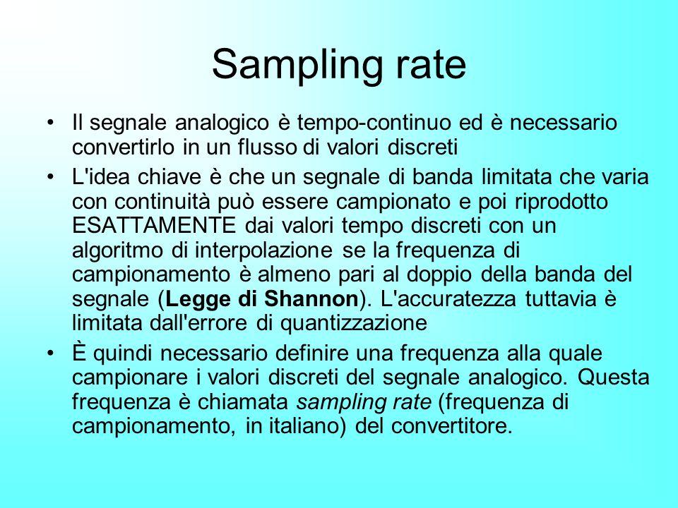 Sampling rate Il segnale analogico è tempo-continuo ed è necessario convertirlo in un flusso di valori discreti.
