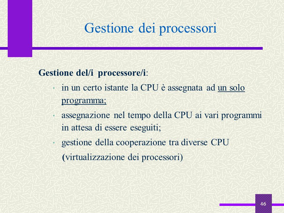 Gestione dei processori