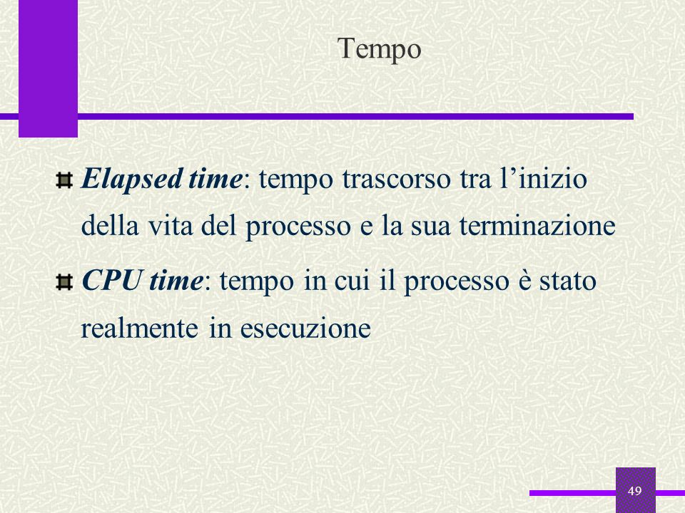 TempoElapsed time: tempo trascorso tra l'inizio della vita del processo e la sua terminazione.
