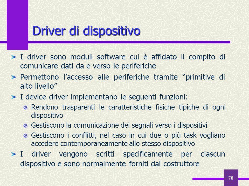 Driver di dispositivo I driver sono moduli software cui è affidato il compito di comunicare dati da e verso le periferiche.