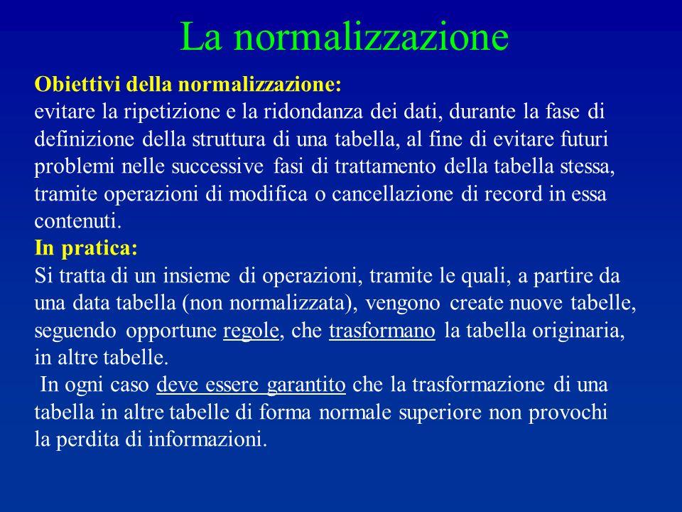 La normalizzazione Obiettivi della normalizzazione: