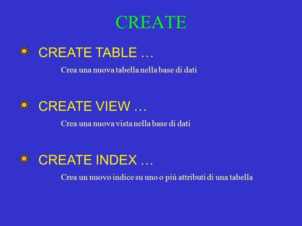CREATE CREATE TABLE … CREATE VIEW … CREATE INDEX …