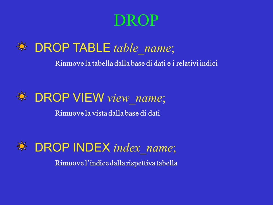 DROP DROP TABLE table_name; DROP VIEW view_name;