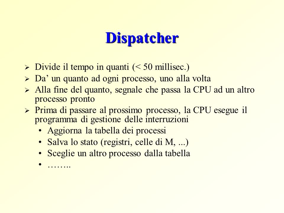 Dispatcher Divide il tempo in quanti (< 50 millisec.)