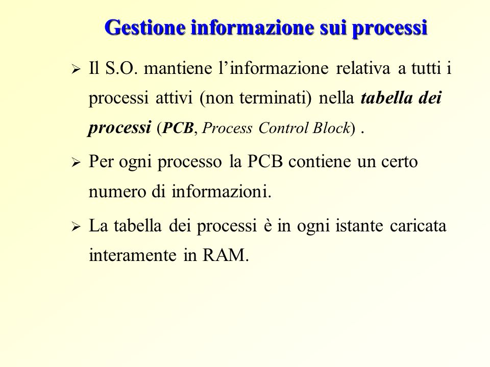 Gestione informazione sui processi