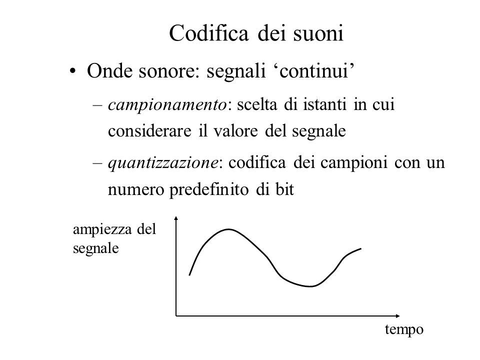Codifica dei suoni Onde sonore: segnali 'continui'