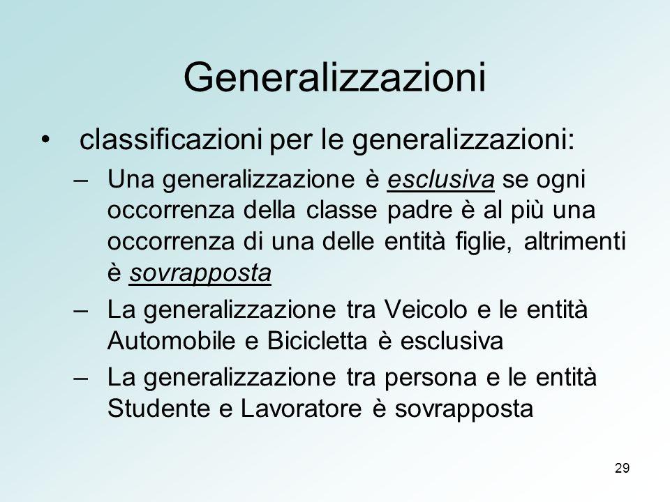 Generalizzazioni classificazioni per le generalizzazioni: