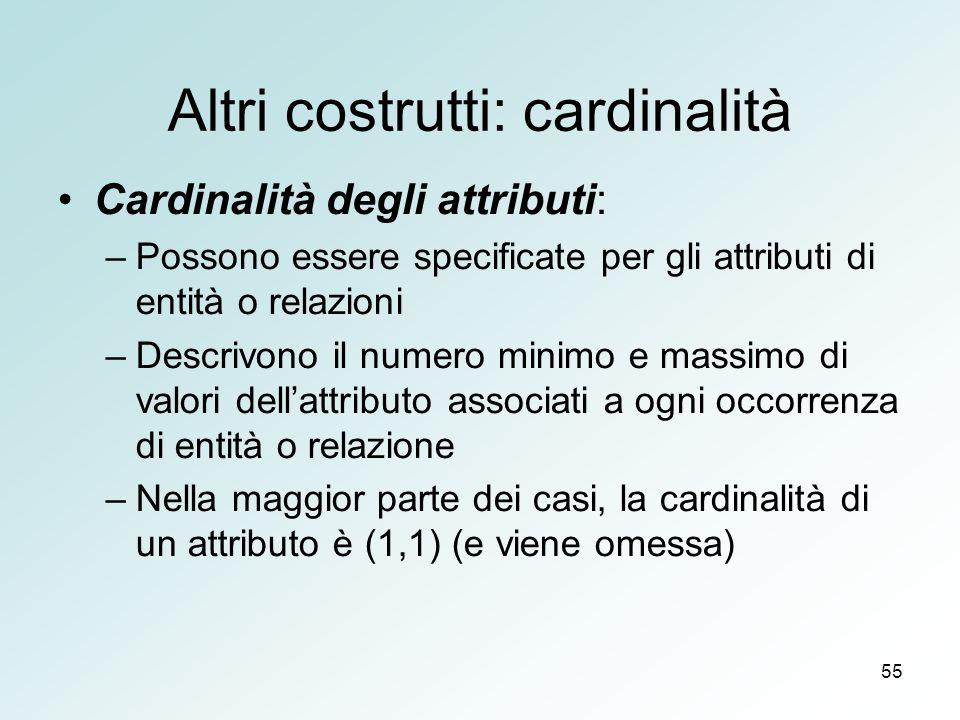 Altri costrutti: cardinalità