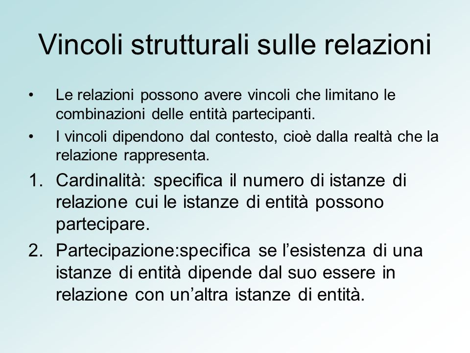 Vincoli strutturali sulle relazioni