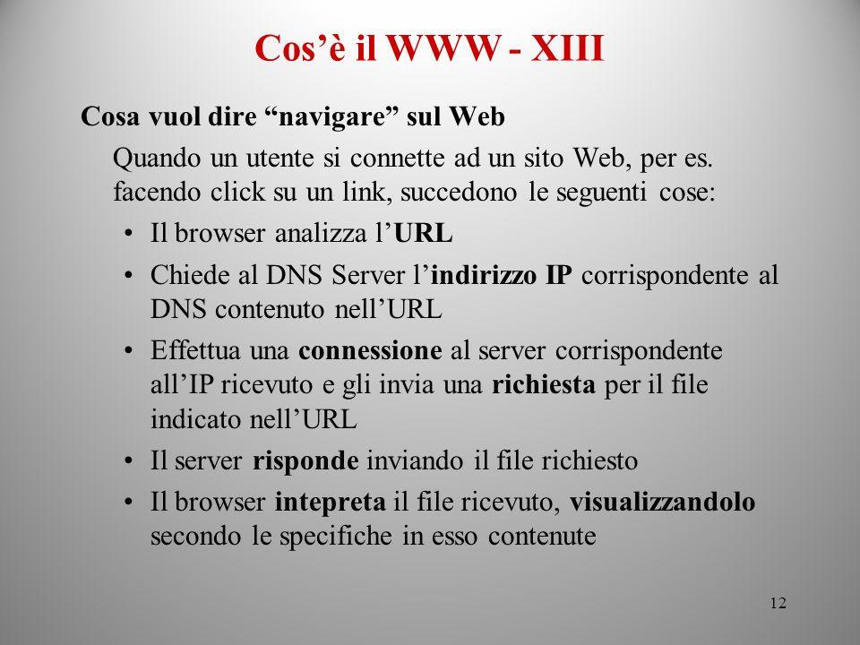 Cos'è il WWW - XIII Cosa vuol dire navigare sul Web