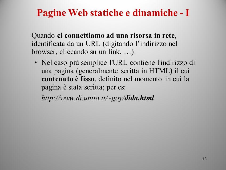 Pagine Web statiche e dinamiche - I
