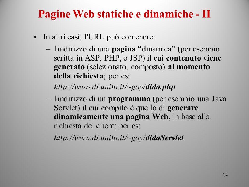 Pagine Web statiche e dinamiche - II