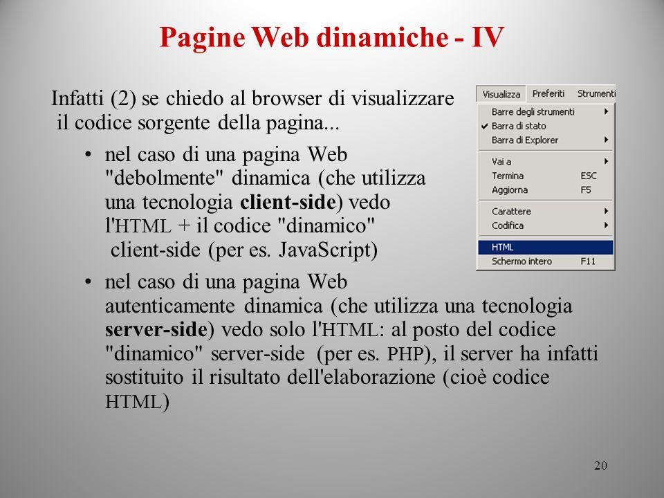 Pagine Web dinamiche - IV