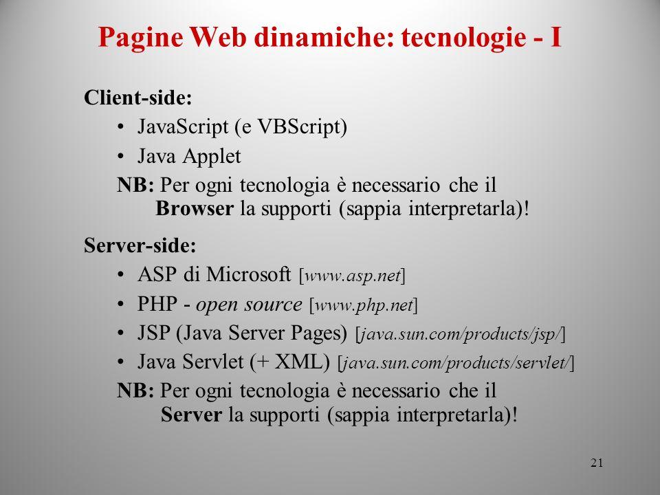Pagine Web dinamiche: tecnologie - I