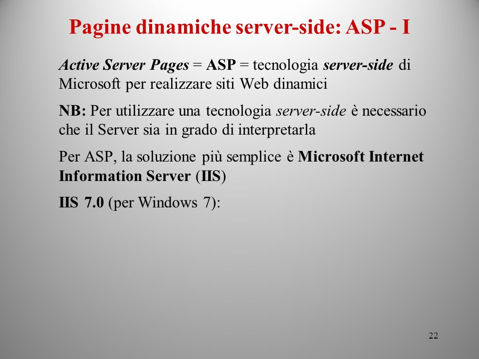 Pagine dinamiche server-side: ASP - I