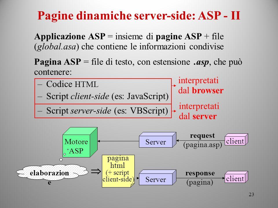 Pagine dinamiche server-side: ASP - II