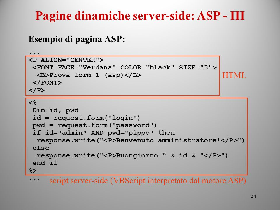 Pagine dinamiche server-side: ASP - III