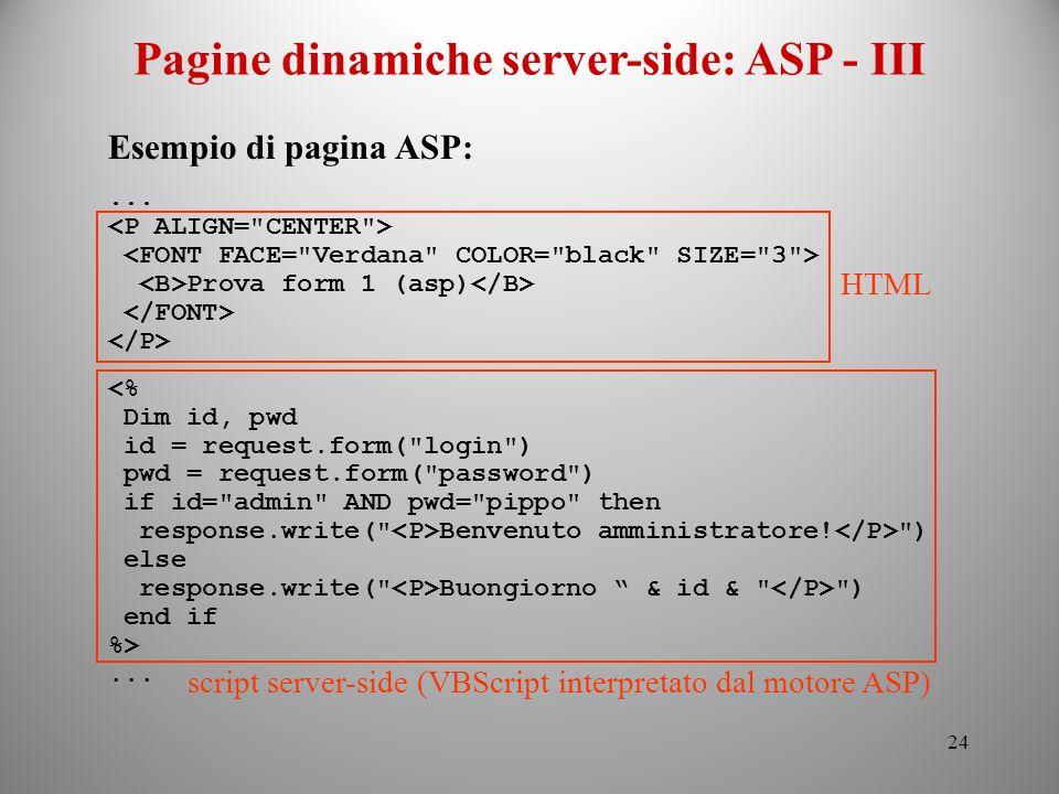 Pagine dinamiche server-side: ASP - III