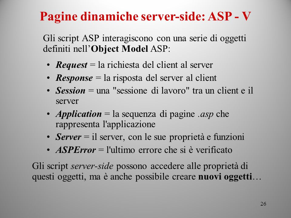 Pagine dinamiche server-side: ASP - V