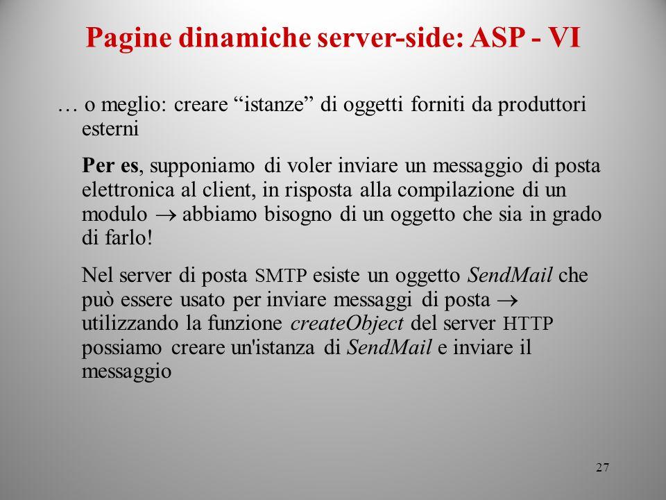 Pagine dinamiche server-side: ASP - VI