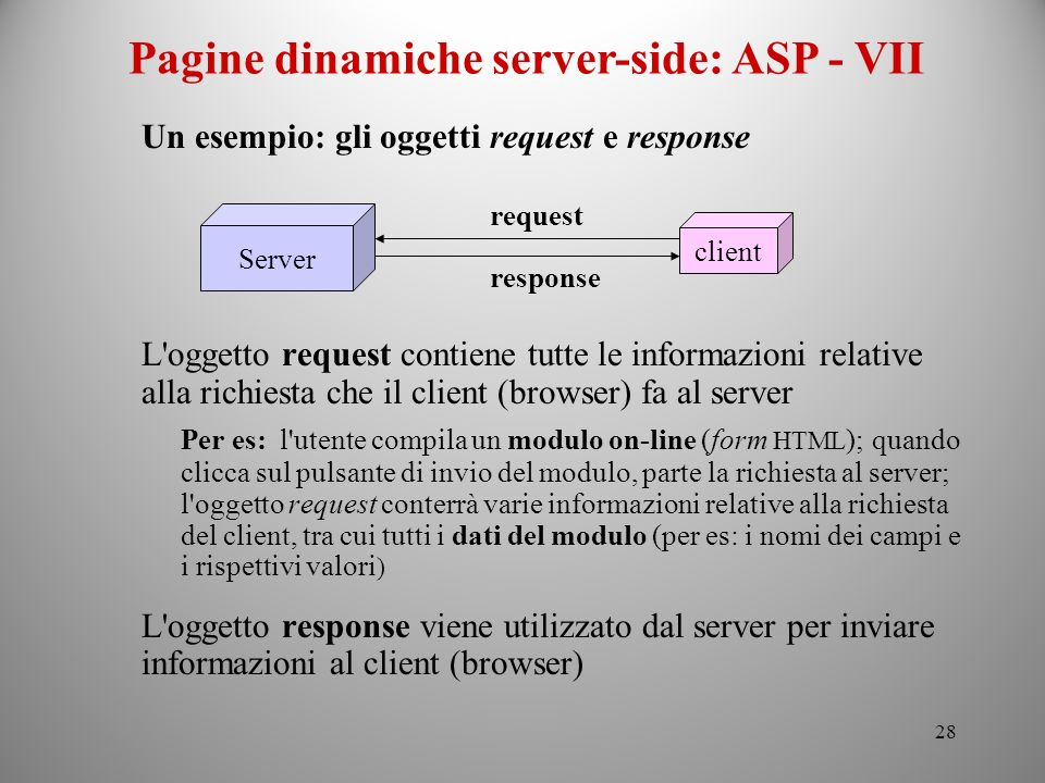 Pagine dinamiche server-side: ASP - VII