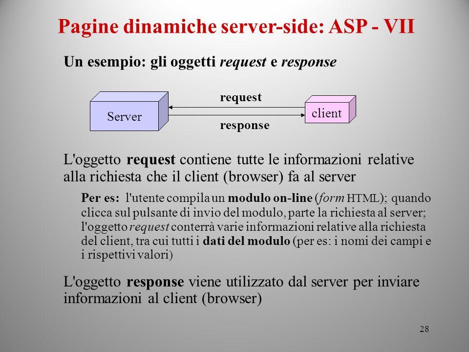 Pagine dinamiche server-side: ASP - VII