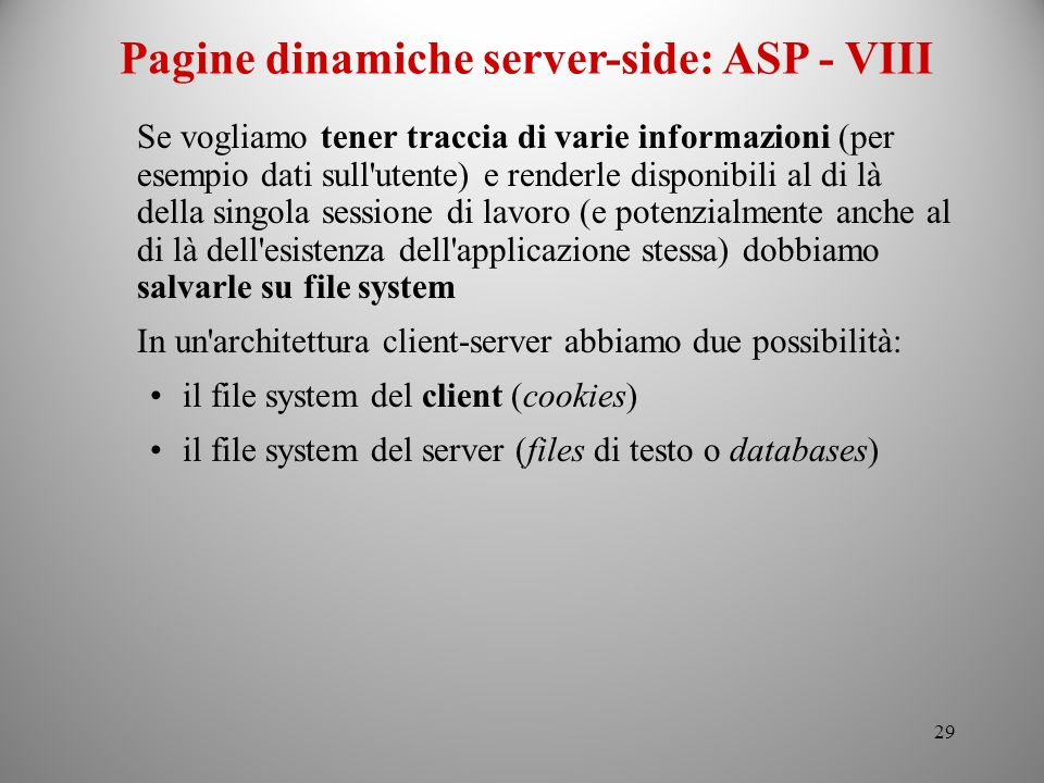 Pagine dinamiche server-side: ASP - VIII